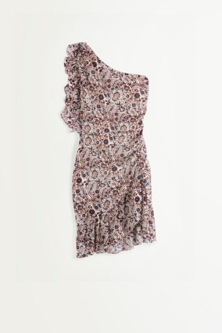 Colby Asymmetric Dress in a paisley print