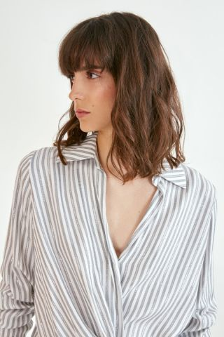 Leila Shirt in a lurex stripe print