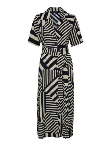 All over linear print belted midi dress - Selected Femme