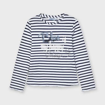 Long sleeved striped t-shirt with sequin detail