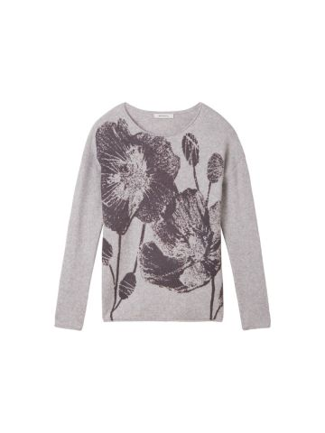 Knitted jumper with flower print