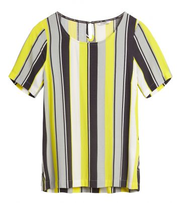 Striped top with keyhole - Blazing Yellow