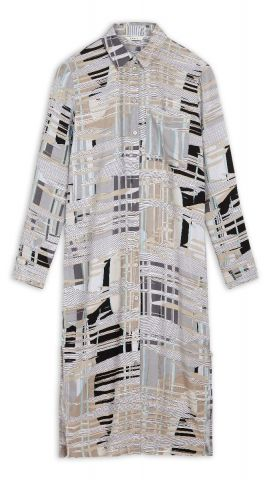 Shirt dress with all over graphic print