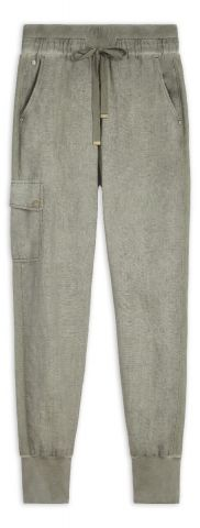 Linen jogger trousers with mesh detail