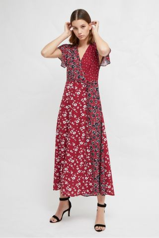 ALIYAH CREPE FLORAL MAXI DRESS - RED