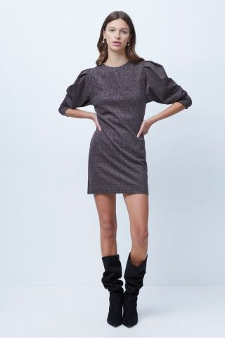 Mary dogtooth mini dress with puff sleeve