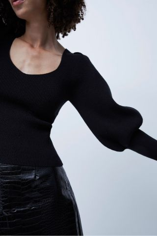 Joss Knit jumper with balloon sleeves