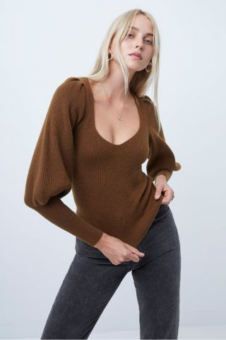 Joss Knit jumper with balloon sleeves - tan