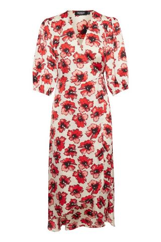 Floral print wrap dress with 3/4 length sleeves