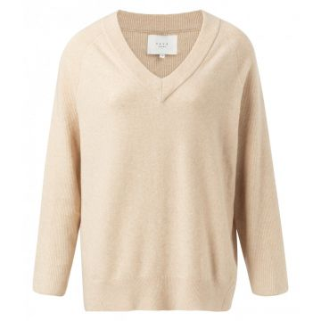 Cotton blend V-neck sweater with rib detail