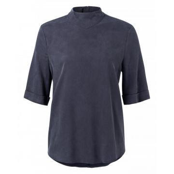 Cupro blend high neck top - dark blue