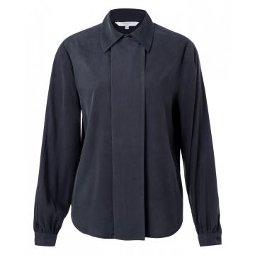 Cupro blend shirt with placket detail - dark blue