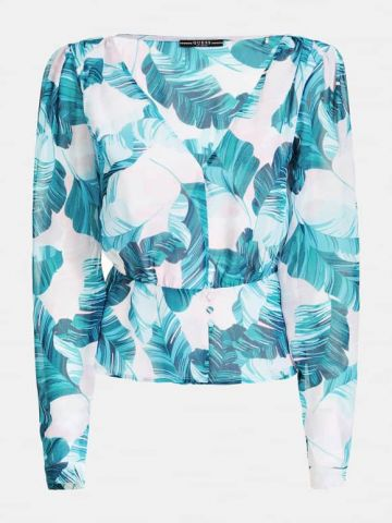 Georgette blouse in a tropical print