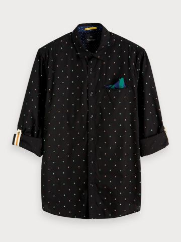 Printed Pocket Shirt Regular Fit - Black