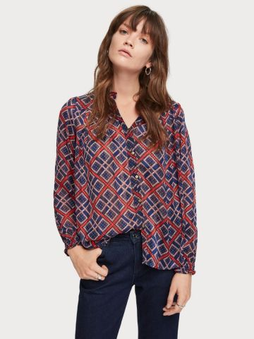 All over Printed Sheer Blouse