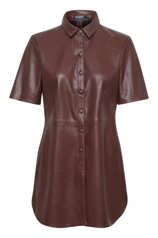 Leather look shirt with short sleeves - rum