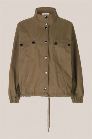 Jacket with button closure