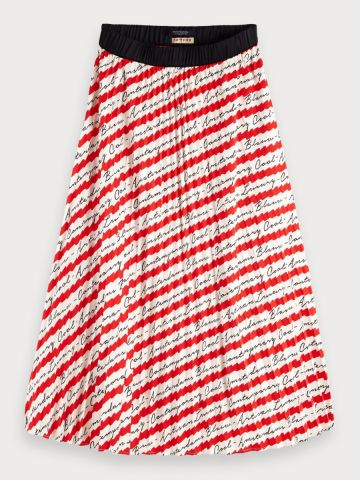 Pleated Satin Stripe Skirt