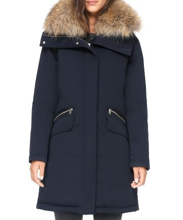 Joleen Fur Trim Parka in Indigo