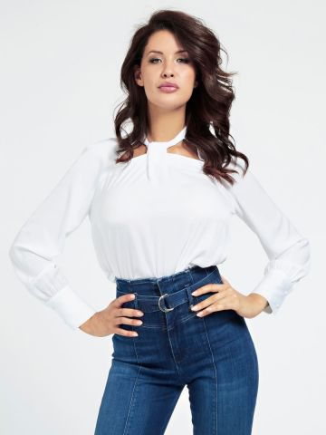 Satin blouse with cut out detail
