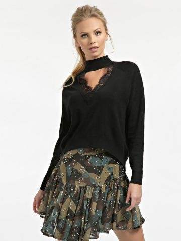 Lace insert jumper with a high collar