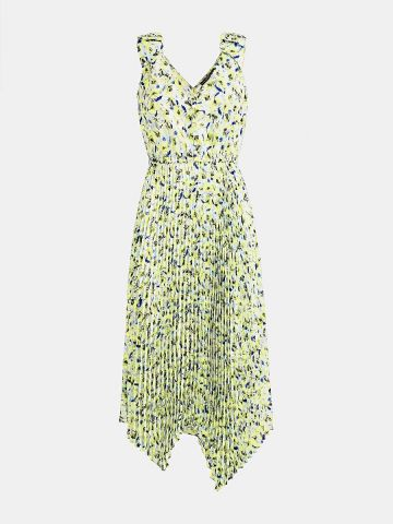 Floral print dress with pleats