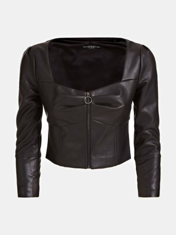 Stretch faux leather cropped jacket