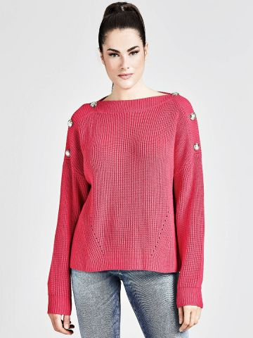 Gold button Chunky knit  - pink