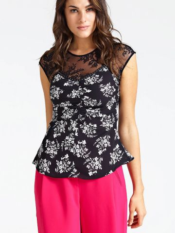 Lace insert floral print top